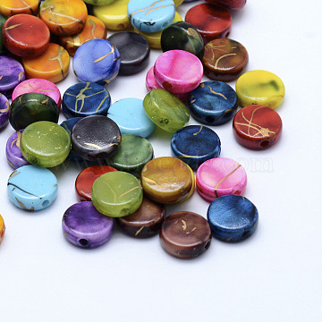 Drawbench Acrylic Beads, Spray Painted, Flat Round, Mixed Color, 9x3.5mm, Hole: 1mm(X-MACR-K331-19)