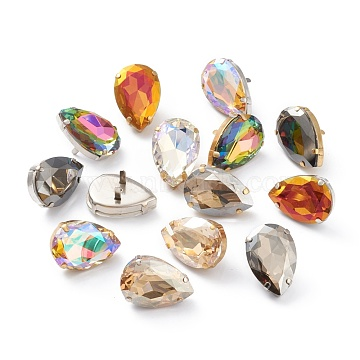 Brass Shoes Buckle Clips, with Glass Rhinestone, for Shoes Bag Decoration, Purse Hardware Accessoriess, Teardrop, Platinum & Golden, Mixed Color, 29.5x29.5x9.5mm(RGLA-H005-C)