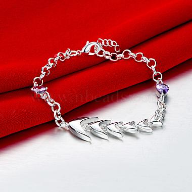 Brass Fishbone Link Bracelets(BJEW-BB17088)-4