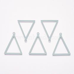 Pendentifs en laiton peints, triangle, Aqua, 35x27x1mm, Trou: 2mm(KK-P075-33A)