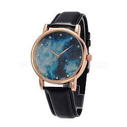 Женские кварцевые нержавеющей стали звездное небо наручные часы, с ПУ кожаный ремешок для часов, чёрные, 240x18~20 мм; голова часов : 47x42x11 мм; лицо часов : 36 мм(WACH-O004-03D)
