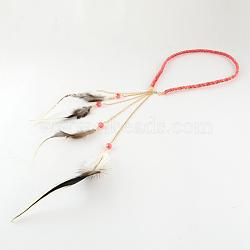 Плетеные ободки & повязки, женские, окрашенные перья, с железными цепочками, золотые, индийские красные, 490~550x7 мм(OHAR-R187-06)