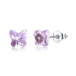 925 boucles d'oreille en argent sterling, avec le cristal autrichien, papillon, sculpté 925, platine, 371 _violet, 5x5 mm(EJEW-BB30547-C)