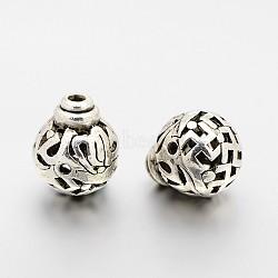 Laiton 3 perles gourou -hole, perles t-percées, gourde / calebasse, sans cadmium et sans plomb, argent antique, 12x10mm, Trou: 1mm(KK-J212-A01-RS)