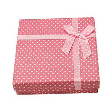 Pink Square Cardboard Jewelry Set Box