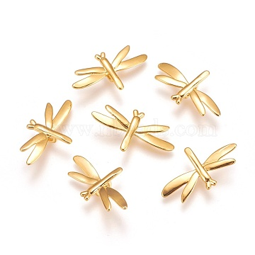 Real Gold Plated Dragonfly Brass Slide Charms