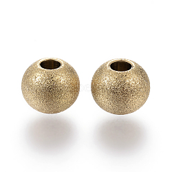 Vacuum Plating 304 Stainless Steel Textured Beads, Round, Golden, 8x7mm, Hole: 3mm(X-STAS-P108-05G)