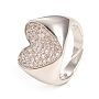 регулируемые латунные кольца микро манжеты из прозрачного циркония, сердце, платина, Размер 7, Внутренний диаметр: 17 mm