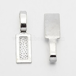 Tapis à coller en alliage de style tibétain, rectangle, sans plomb, argenterie, 26x8x1mm, Trou: 8x5mm(X-TIBE-4710-S-RS)