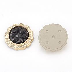 Cabochons en plastique CCB, avec de la résine, fleur, or, noir, 18.5x4.5mm(X-CCB-S159-26)