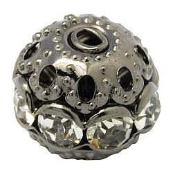 Perles en laiton de strass, Grade a, rond, gunmetal, clair, taille: environ 10mm de diamètre, Trou: 1.2mm(X-RB-H041-12)