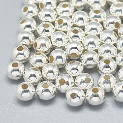 925 Sterling Silver Beads, Round, Silver, 8mm, Hole: 3mm(X-STER-T002-241S-8mm)