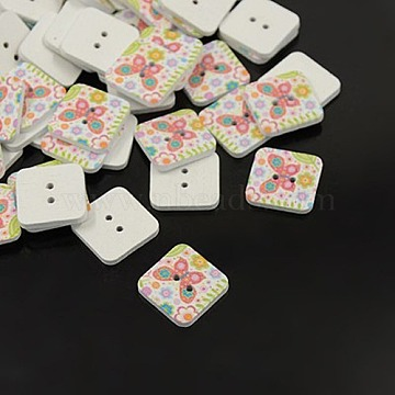 Printed Wooden Buttons, 2-Hole, Dyed, Square, Colorful, 18x18x4mm, Hole: 2mm(X-BUTT-A024-28L-06G)