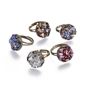 Mixed Color Glass Finger Rings