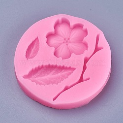 Food Grade Silicone Molds, Fondant Molds, For DIY Cake Decoration, Chocolate, Candy, Soap, UV Resin & Epoxy Resin Jewelry Making, Peach Blossom Branch, DeepPink, 54x7mm