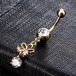 Environmental Brass Cubic Zirconia Navel Ring, Belly Rings, with Use Stainless Steel Findings, Real 18K Gold Plated, Flower, LavenderBlush, 46x9mm(AJEW-EE0004-03B)