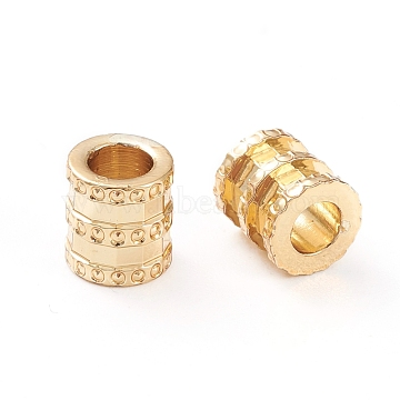 Brass Tube Beads, Long-Lasting Plated, Column, Real 18K Gold Plated, 6.5x6x6mm, Hole: 3mm(X-KK-K241-26G)