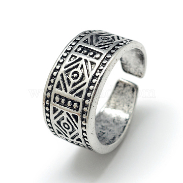 Adjustable Alloy Wide Band Cuff Finger Rings, Size 6, Antique Silver, 16mm(X-RJEW-S038-011)