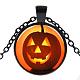 Halloween Theme Glass Pendant Necklaces(NJEW-J057-B917-B)-1