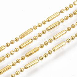 chaînes à billes en laiton, chaînes de perles à facettes boule et barre, plaqué longue durée, soudé, avec bobine, sans cadmium et sans nickel et sans plomb, or, 5.8x1.4 mm et 1.4 mm(X-CHC-S008-008A-G)