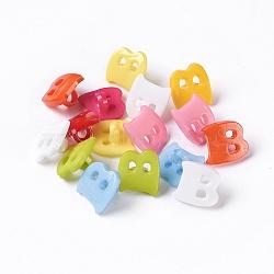Boutons en acrylique, 1-trou, teint, lettre b, couleur mixte, 14x13x2mm, Trou: 3mm(X-BUTT-E029-M)