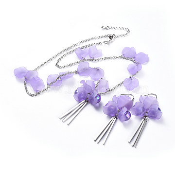 Petal Acrylic Pendants Necklaces and Dangle Earrings Jewelry Sets, with 304 Stainless Steel Findings and Brass Lobster Claw Clasps, Lilac, 18.8 inches(48cm); 2mm; 65mm; Pin: 0.7mm(SJEW-JS01024)