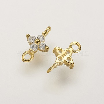 Sterling Silver Links, with AAA Cubic Zirconia, Flower, Real 18K Gold Plated, 9x5x2.5mm, Hole: 1mm(X-STER-K029-28G)