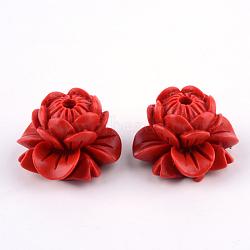 Lotus Cinnabar Beads, Flower, FireBrick, 12x18x18mm, Hole: 2mm(X-CARL-Q004-83)