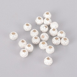 Round 925 Sterling Silver Textured Beads, Silver, 3mm, Hole: 1mm(X-STER-F012-23A)