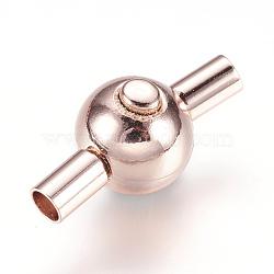 Fermoirs à baïonnette en 304 acier inoxydable, rond, or rose, 24x11x12mm, Trou: 3mm(STAS-E144-044RG)