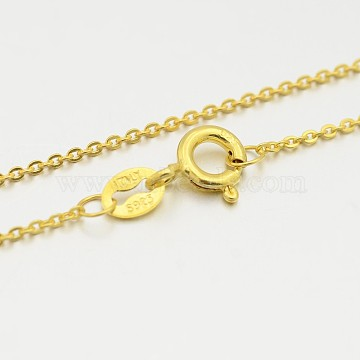 925 Sterling Silver Cable Chain Necklaces, with Spring Ring Clasps, Golden, 16 inches, 1.2mm(STER-M086-06A)