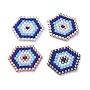 18mm Mixed Color Hexagon Glass Pendants(PALLOY-JF00428)