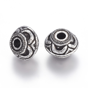 Antique Silver Tone Acrylic Beads, Large Hole Beads, Bicone, 15x21mm, Hole: 5mm(X-PACR-S206-86AS)