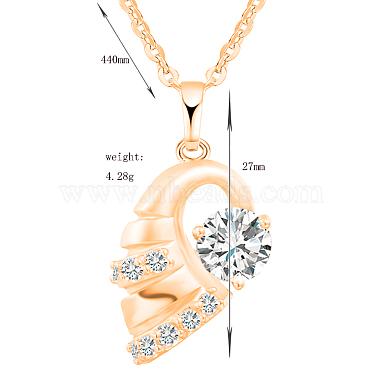 Exquisite Conch Shape Brass Cubic Zirconia Pendant Necklaces(NJEW-EE0001-17G)-2