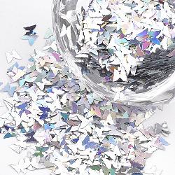 Accessoires d'ornement, perles de paillette / paillettes en plastique pour animaux de compagnie, papillon, coloré, 3.5x3x0.038 mm; environ 200000 pcs / 500 g(PVC-T001-07)