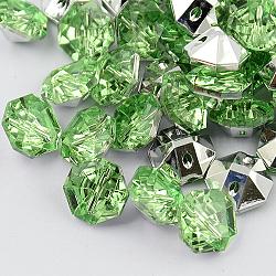 Boutons d'octogone avec strass en acrylique de Taiwan avec 2 trou, facettes et dos plaqué argent, lightgreen, 11x10x6mm, Trou: 1mm(BUTT-F016-10mm-34)
