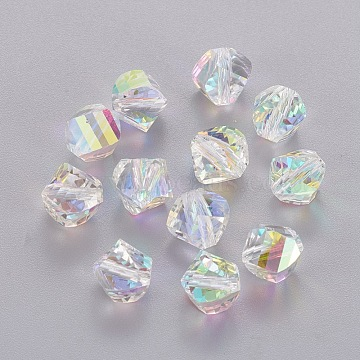 9mm Clear AB Cone Glass Beads