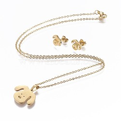 304 Stainless Steel Puppy Jewelry Sets, Stud Earring and Pendant Necklaces, Dog Head, Golden, 17.3inches~18.2inches(44~46.3cm); 7.5x10x1mm; Pin: 0.8mm (X-SJEW-P159-27G)