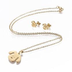 304 ensembles de bijoux en acier inoxydable, boucles d'oreille et colliers, chien, or, 17.3 18.2 cm); (44~46.3 mm; Broche: 7.5x10x1 mm(X-SJEW-P159-27G)