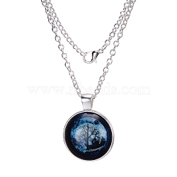 """Plat rond avec l'arbre à minuit alliage de verre pendentifs, argenterie, 17.7""""(X-NJEW-N0051-047J-02)"""