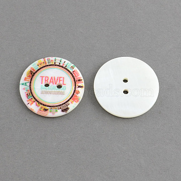 Flat Round 2-Hole Printing Sewing Freshwater Shell Buttons, Dyed, Colorful, 30x3mm, Hole: 2.5mm(X-SHEL-S241-13)