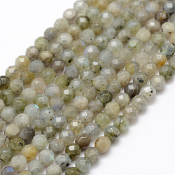 Natural Labradorite Beads Strands, Round, Faceted, 4mm, Hole: 1mm; about 107pcs/strand, 15.1''(38.5cm)