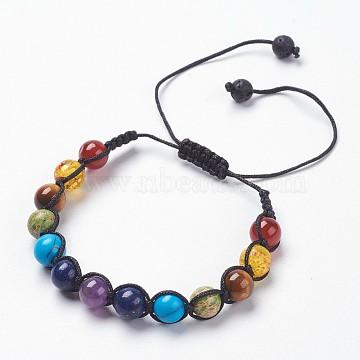 Chakra Jewelry, Adjustable Mixed Stone Braided Bead Bracelets, Round, 1-3/4 inches(4.5cm), 9.5mm(X-BJEW-JB03703)