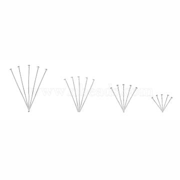 Iron Flat Head Pins, Silver, 20x0.7mm/30x0.7mm/38x0.7mm/45x0.7mm, about 600pcs/box(IFIN-X0051-10S)