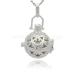 Pendentifs creux à cage ronde en laiton argenté, perles de ballon rond  en laiton sans trou , argenterie, 35x25x21mm, Trou: 3x8mm(KK-J216-09S)
