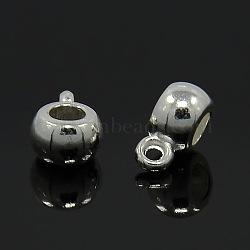 Liens de suspension de style tibétain, Perles renflouer , sans cadmium et sans plomb, argenterie, 9x5.8mm, Trou: 1.5mm(X-WAB017H-S-RS)