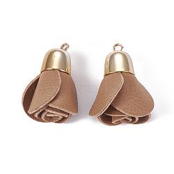 Pendentifs en cuir, avec les accessoires en laiton, fleur, or, chameau, 44~46x23~30mm, Trou: 3mm(KK-F794-01B)