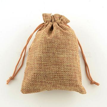 Polyester Imitation Burlap Packing Pouches Drawstring Bags, Peru, 18x13cm(X-ABAG-R004-18x13cm-03)