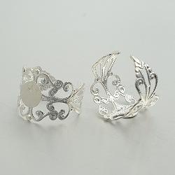 Laiton réglable composants de support de l'anneau en filigrane, bases d'anneau pad, plat rond, argenterie, 20mm, Plateau: 8 mm(KK-J181-23S)