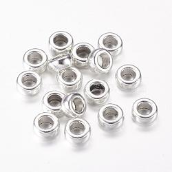 argent tibétain grand trou rondelle perles européennes, sans plomb et sans cadmium, argent antique, 7x3.5 mm, trou: 3.7 mm(X-LF8334Y)